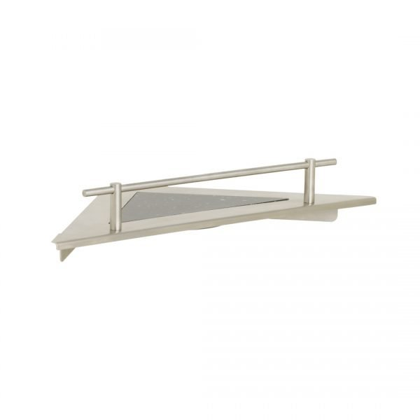 H & H Corner Shower Shelf with Rail - Stainless Steel